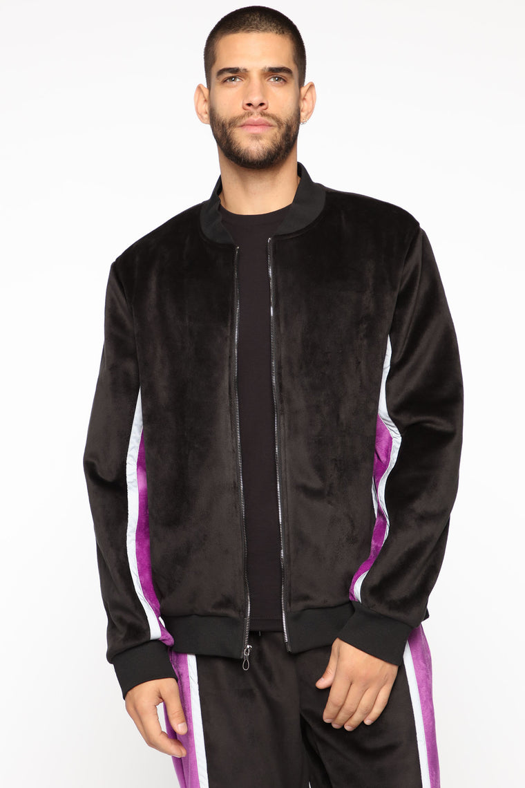 Ethan Velour Jacket - Black/Combo