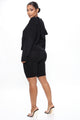 Samantha Sweater Biker Short Set - Black