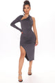 Rosanna One Shoulder Midi Dress - Grey