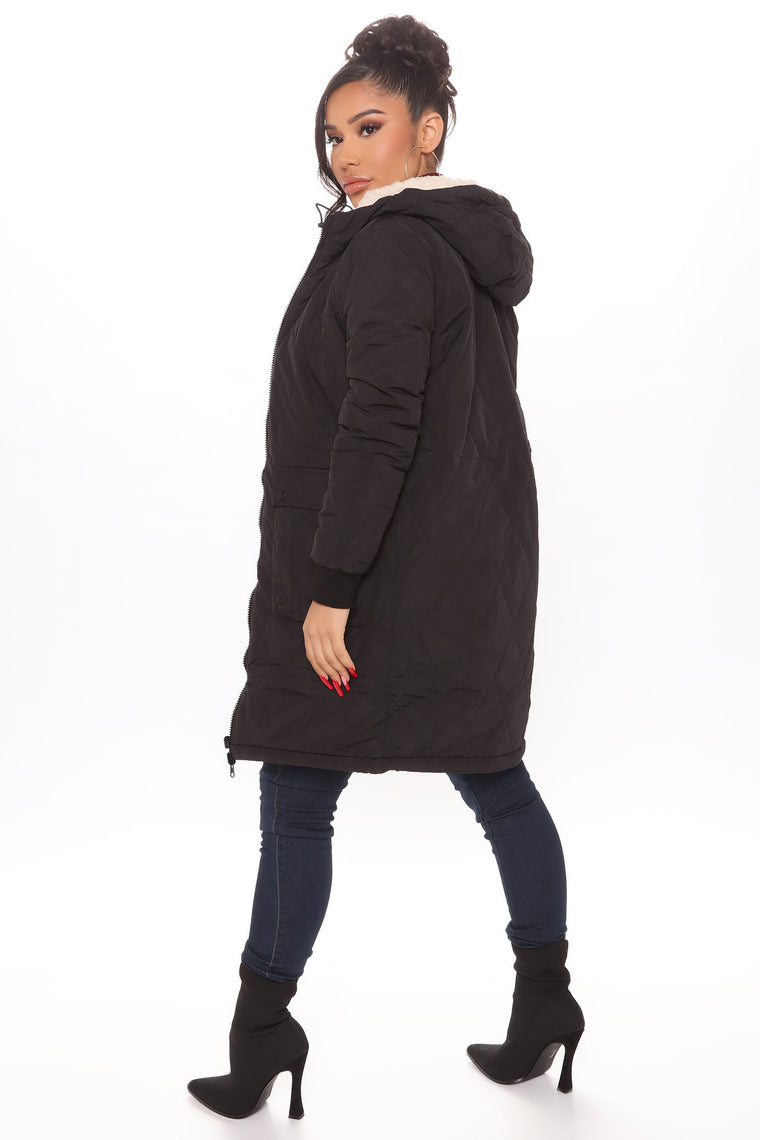 Bundled Up Reversible Sherpa Anorak Jacket - Black/combo