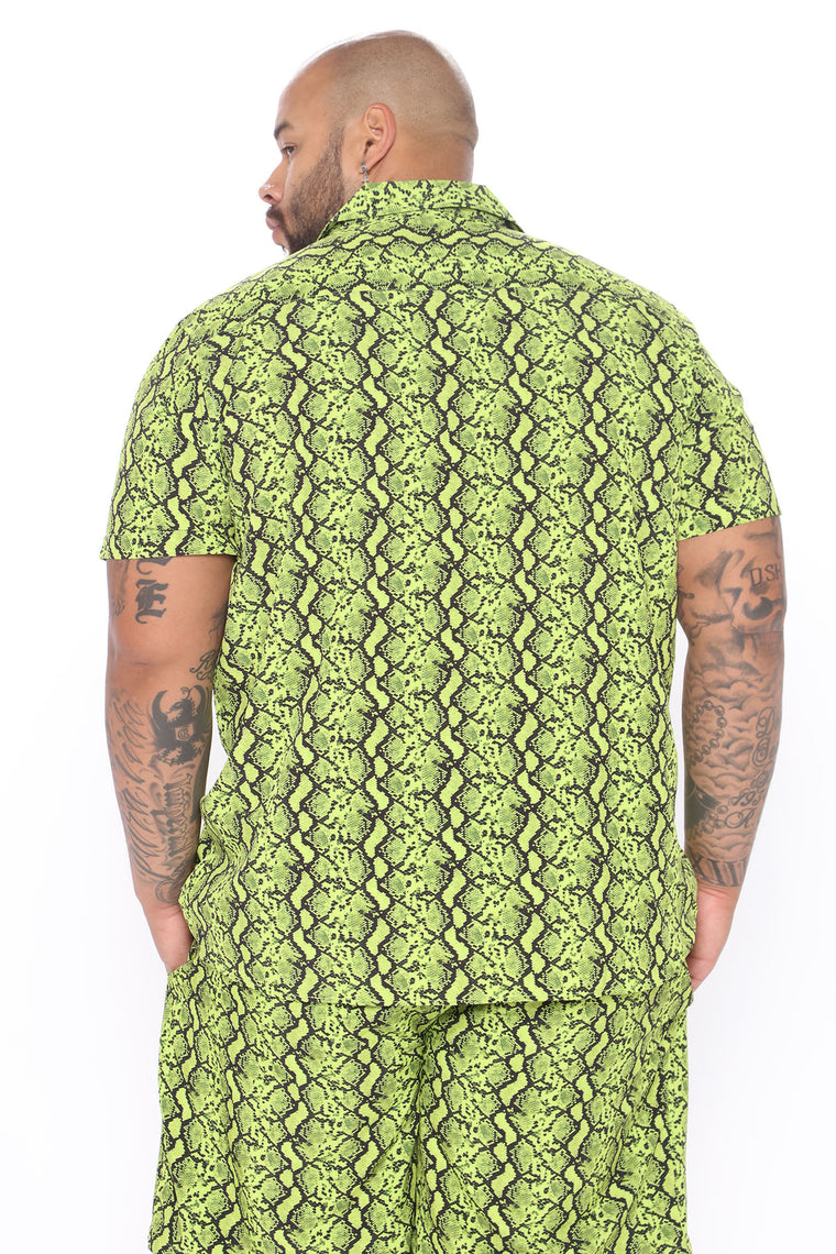 Do It Now Short Sleeve Woven Top - Green/combo