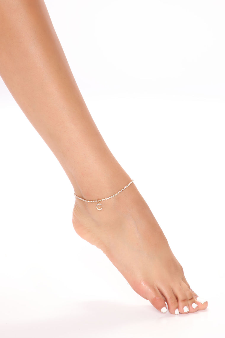 Say My Name 'C' Initial Anklet - Gold