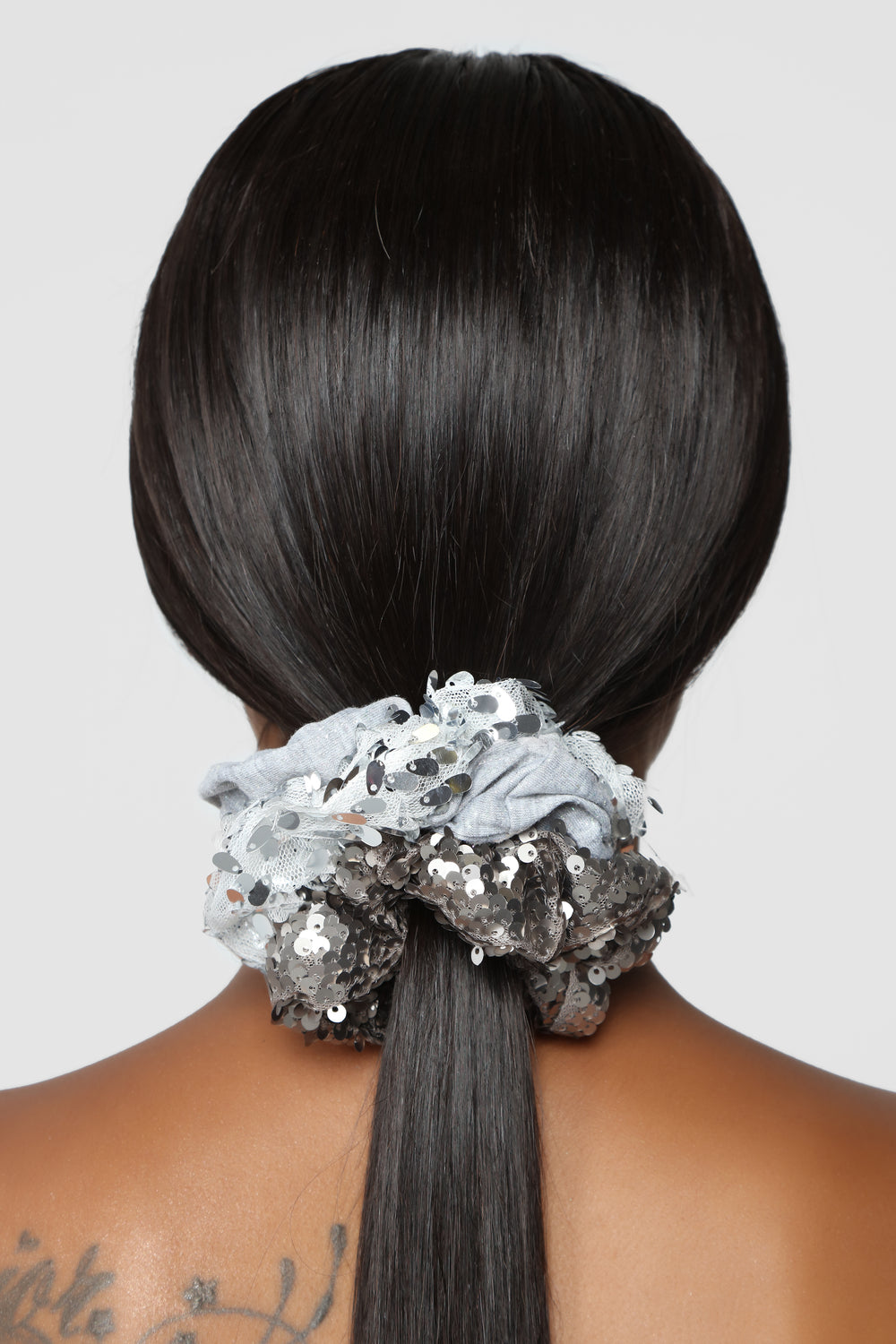 All In The Right Sequins Scrunchie Set - Silver