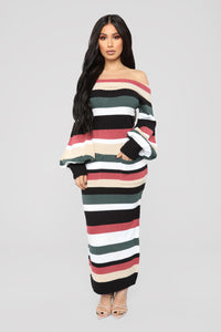 Nylah Stripe Dress - Black/Multi Angle 1
