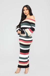 Nylah Stripe Dress - Black/Multi Angle 3