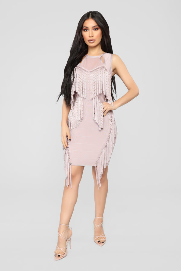 f5aa3f563ec Make A Move Fringe Bandage Dress - Mauve