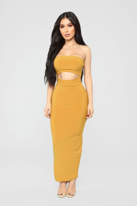 Open To It Midi Dress - Mustard Angle 1