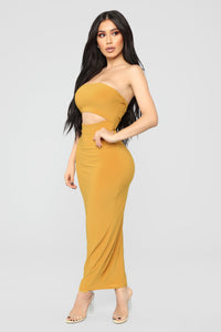 Open To It Midi Dress - Mustard Angle 3