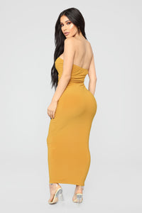 Open To It Midi Dress - Mustard Angle 5