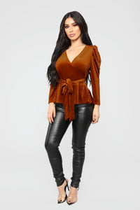 Velvet Dreams Wrap Top - Rust Angle 2