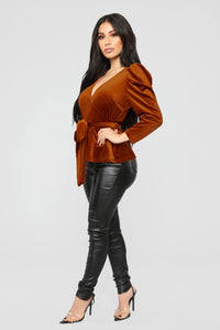 Velvet Dreams Wrap Top - Rust Angle 4