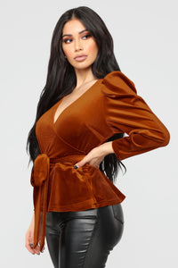 Velvet Dreams Wrap Top - Rust Angle 3