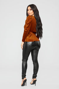 Velvet Dreams Wrap Top - Rust Angle 5