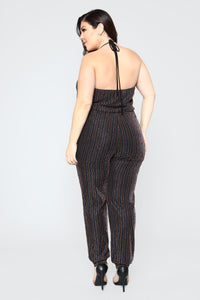 Janessa Striped Jumpsuit - Black