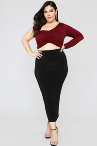 One Way Or Another Crop Top - Burgundy