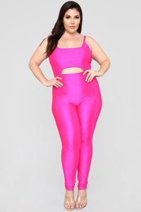 A Cut Above The Rest Jumpsuit - Hot Pink Angle 5