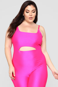 A Cut Above The Rest Jumpsuit - Hot Pink Angle 6