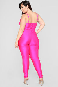 A Cut Above The Rest Jumpsuit - Hot Pink Angle 8