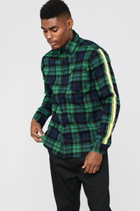Freestyle Long Sleeve Flannel Top - Green