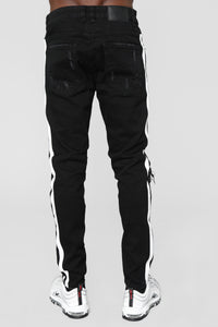 "Tape 30"" Skinny Jeans - Black/White"