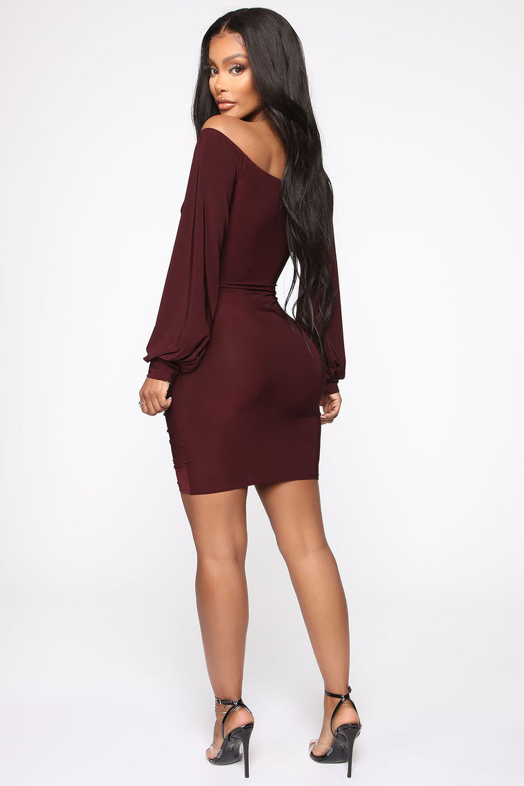 Fit Your Needs Mini Dress - Wine
