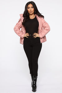 I Got You Covered Puffer Jacket - Mauve Angle 2