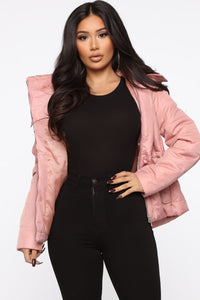 I Got You Covered Puffer Jacket - Mauve Angle 1