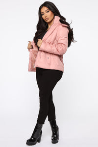 I Got You Covered Puffer Jacket - Mauve Angle 4