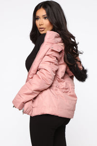I Got You Covered Puffer Jacket - Mauve Angle 3