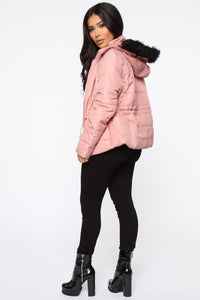 I Got You Covered Puffer Jacket - Mauve Angle 5