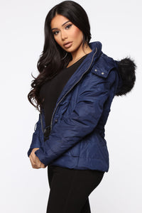 I Got You Covered Puffer Jacket - Navy