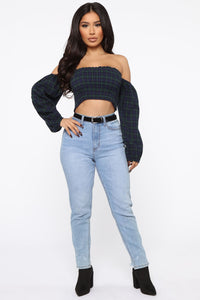 Check Me Out Crop Top - Navy