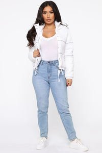 Not One To Beg Puffer Jacket - White Angle 2