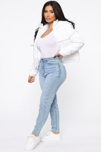 Not One To Beg Puffer Jacket - White Angle 3