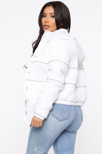 Not One To Beg Puffer Jacket - White Angle 1