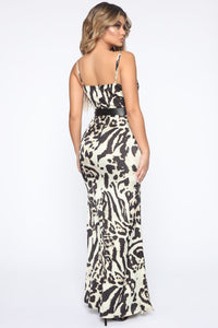A Little Catty Satin Maxi Dress - Ivory/Black