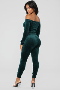 Need A Hug Velour Jumpsuit - Hunter Green