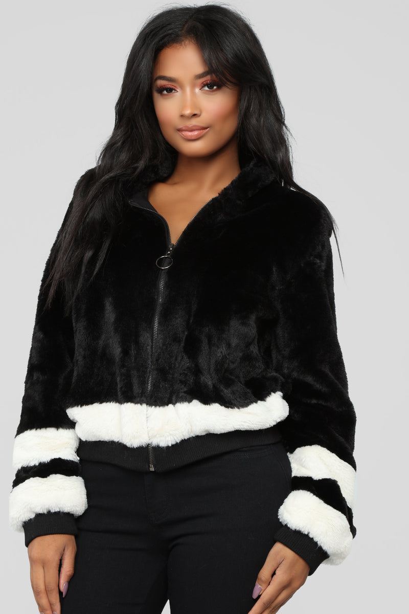 That's What I Like Fur Bomber - Black/White