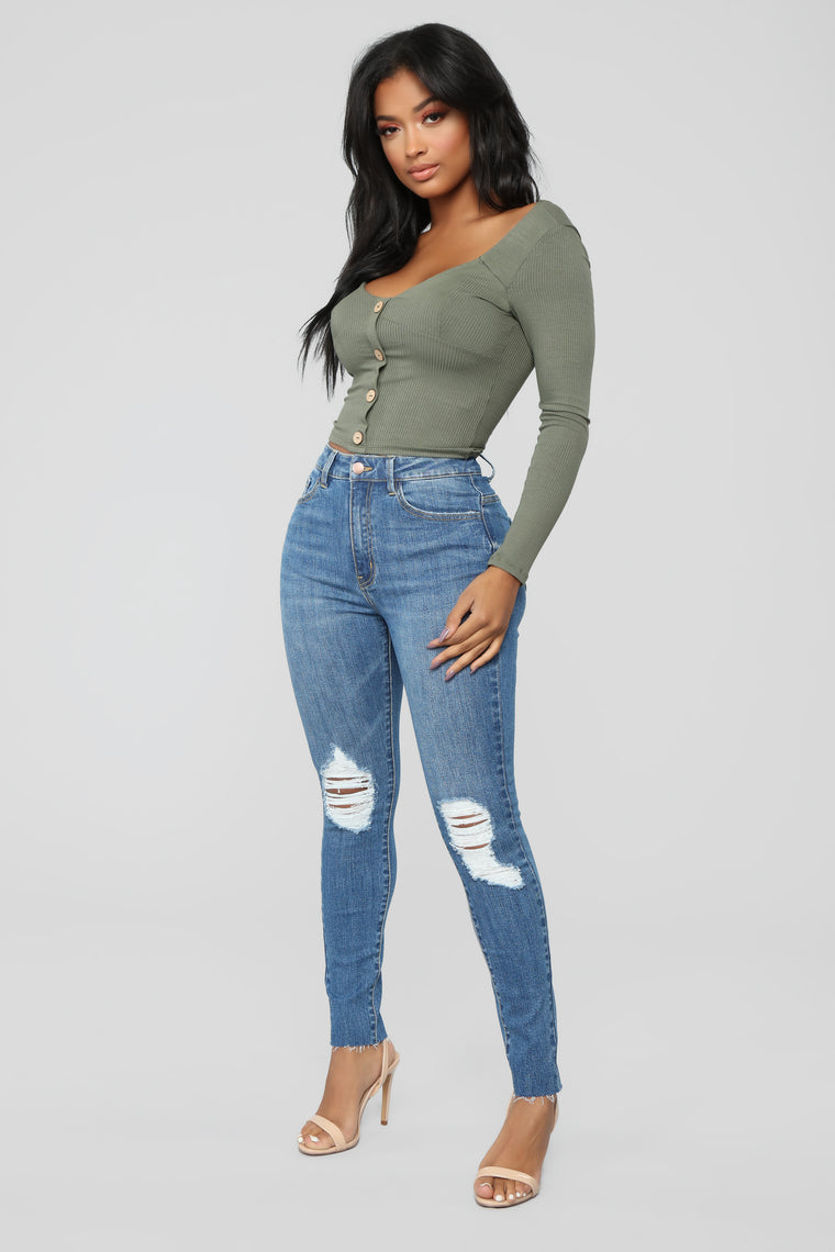 Stephanie Ribbed Top - Olive