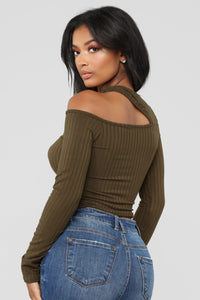 So Edgy Long Sleeve Top - Olive Angle 4