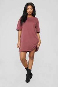 What A Girl Wants T Shirt Dress - Red Brown Angle 4