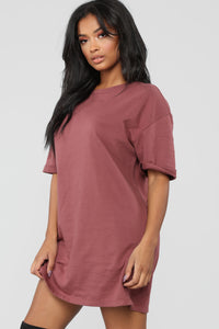What A Girl Wants T Shirt Dress - Red Brown Angle 1