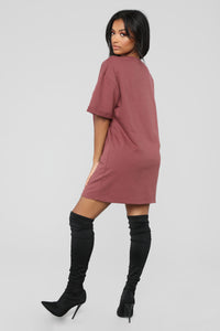 What A Girl Wants T Shirt Dress - Red Brown Angle 5