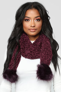 Chenille And Feel Scarf - Plum Angle 1