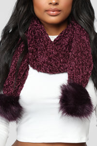 Chenille And Feel Scarf - Plum Angle 2