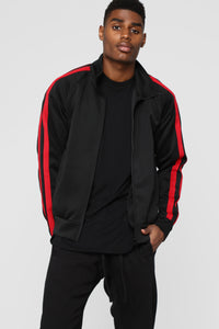 Post Track Jacket - Black/Red Angle 1