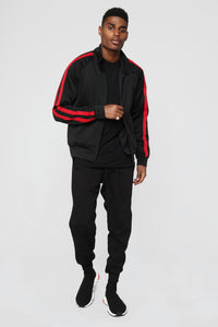 Post Track Jacket - Black/Red Angle 2
