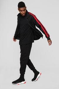 Post Track Jacket - Black/Red Angle 4