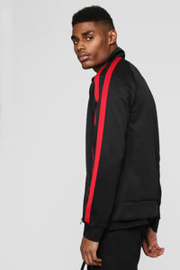 Post Track Jacket - Black/Red Angle 3