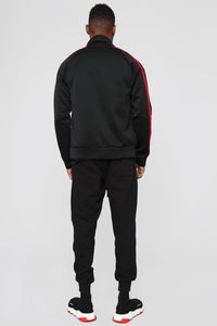 Post Track Jacket - Black/Red Angle 5